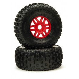 Arrma Roues dBoots Fortress + Jantes Rouge 2.4/3.3 (x2) ARA550065