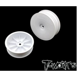"T-Work's Jantes Avant Slim 2wd 2.2"" 12mm Blanches (x2) TE-218-DW"
