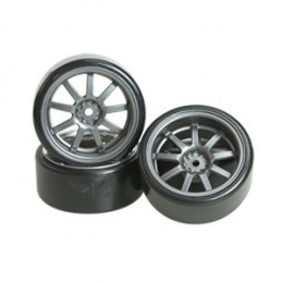 3RACING Pneus Drift + Jantes +5mm Gris (x4) WH-24/GY