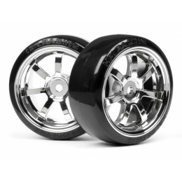HPI Pneus T-Drift + Jantes RAYS Chrome 26mm (x2) 4739