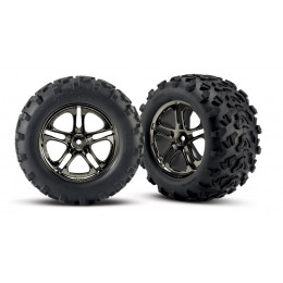 Traxxas Pneus Maxx + Jantes Split Spoke Black Chrome (x2) 4983A