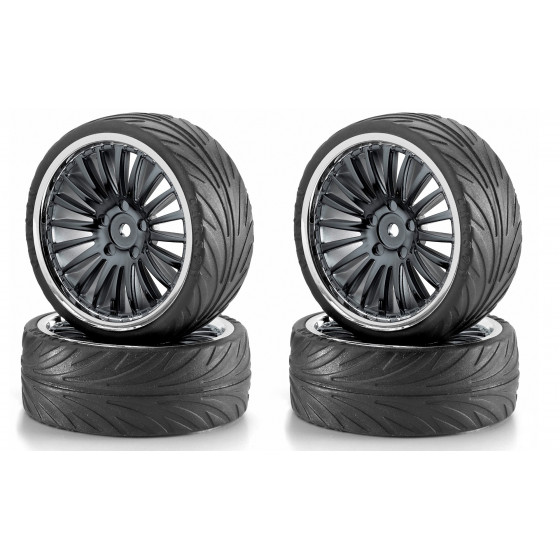 CARSON Pneus + jantes - Big Wheel Set 2 Noir Chrome 500900084