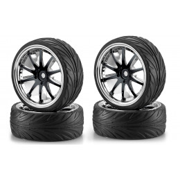 CARSON Pneus + jantes Big Wheel Set 1 Noir Chrome (x4) 500900080