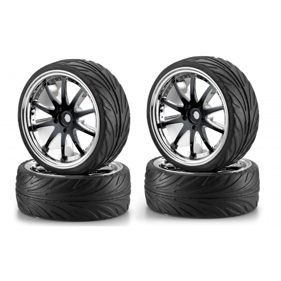 CARSON Pneus + jantes - Big Wheel Set 1 Noir Chrome 500900080